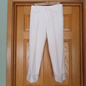 THINK TANK WHITE CROP PANT WITH PINK TOP STITCHING